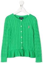 Ralph Lauren Kids cable-knit ruffle-hem cardigan