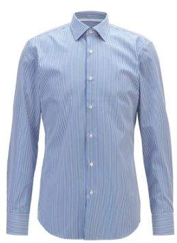 BOSS Slim-fit shirt in striped easy-iron cotton