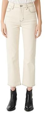Maje Purete Contrast-Stitch Straight-Leg Jeans with Ecru