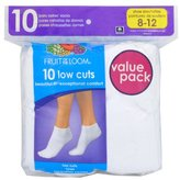 Fruit of the Loom Women's Plus-Size 10 Pack Low Cut Socks
