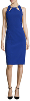 Nicole Miller Crepe Embellished Halter Sheath Dress