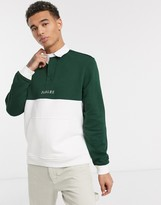Parlez Purcer long sleeve rugby shirt with kangaroo pocket in green