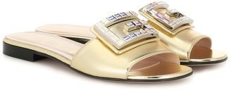 Gucci Embellished metallic leather sandals