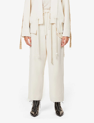 Song For The Mute Bead-trim relaxed high-rise crepe trousers