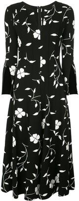 Oscar de la Renta split-sleeve floral midi-dress