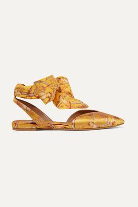 Tabitha Simmons Johanna Ortiz Vera Printed Silk-satin And Crepe De Chine Point-toe Flats - Mustard