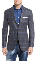 Kiton Windowpane Check Three-Button Sport Coat, Gray/Blue