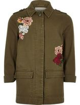 River Island Girls khaki floral embroidered shacket