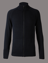 Autograph Cotton Blend Checked Slim Fit Jumper