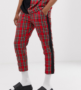 Agora relaxed cropped pants in check with side stripe
