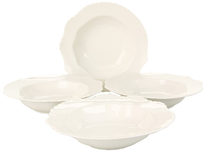 Bia Cordon Blue Cordon Bleu - 12 oz Feather Rim Soup Bowl - Set of 4 (White) - Home