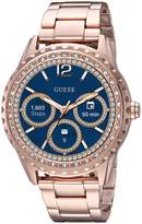 GUESS GUESS? Women's Connect Smart Watch Touch Screen Android Wear Stainless Steel -Tone and Crystal Details