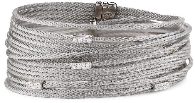 Alor 18K & Stainless Steel 0.18 Ct. Tw. Diamond Coil Bangle