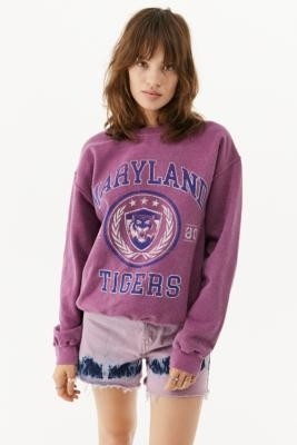 Urban Outfitters Maryland Tigers Crew Neck Sweatshirt - Blue XS at