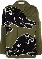 Valentino Panther Beaded Cotton-gabardine Shirt - Green