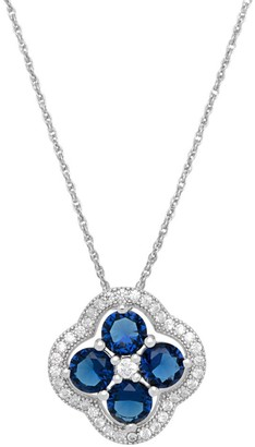 Color Gallery Sterling Silver Navy Blue and White Cubic Zirconia Pendant Chain Necklace