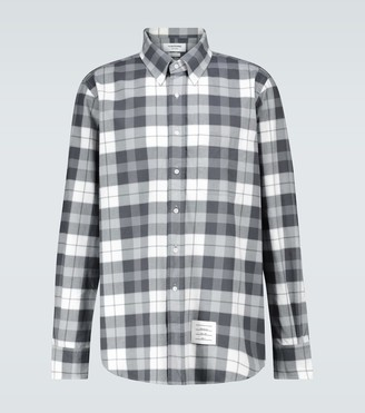 Thom Browne Straight-fit checked flannel shirt