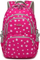 Tibes Oxford Backpack Printed Cute Waterproof Backpack School Backpack for Girls pink