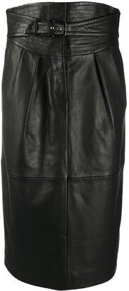 Alberta Ferretti High-Waist Belted Leather Skirt