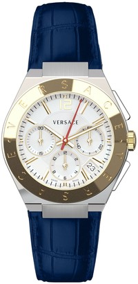 Versace Men's Landmark Chronograph Croc Embossed Leather Strap Watch, 41mm