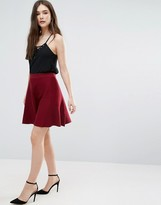 Lavand Knitted Skater Skirt In Burgundy