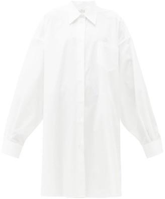Maison Margiela Oversized Cotton Shirtdress - Womens - White