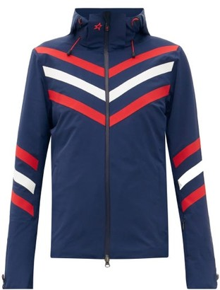 Perfect Moment Detachable-hood Chevron-striped Padded Ski Jacket - Navy
