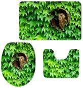 KRWHTS Green Leaf Print Soft Flannel Absorbent Non Slip Bathroom Rug Set Bath Mat Contour Rug and Lid Cover (Green Leaf)