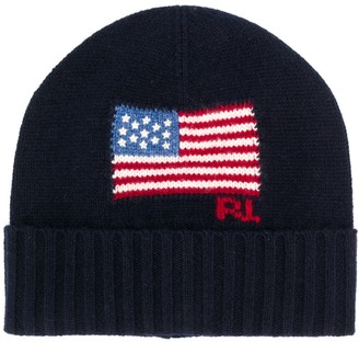 Polo Ralph Lauren Flag-Intarsia Beanie Hat