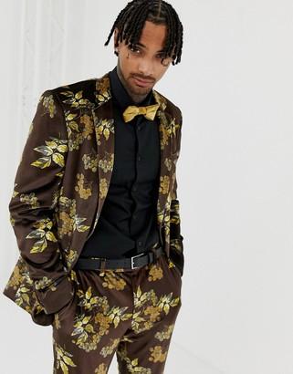 Asos Design DESIGN skinny suit jacket in velvet with floral-Black