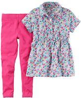 Carter's Toddler Girl Floral Printed Shirt Dress & Solid Leggings Set