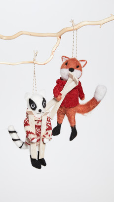 Gift Boutique Set Of 2 Fox and Raccoon Ornaments