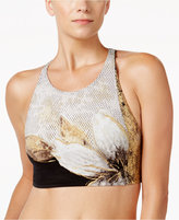 Carmen Marc Valvo High-Neck Metallic Cropped Bikini Top