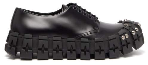3ec27db9 Studded Cleated Sole Brushed Leather Trainers - Mens - Black