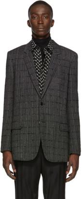 Saint Laurent Black Plaid Long Blazer