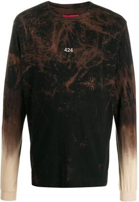 424 long sleeve bleach effect T-shirt