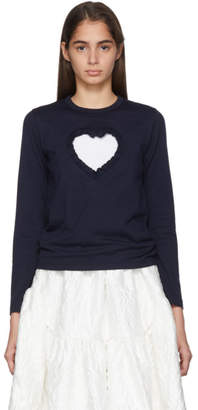 Comme des Garcons Navy Cut-Out Ruffle Heart Long Sleeve T-Shirt