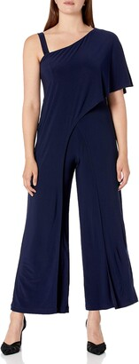 R & M Richards R&M Richards Women's 1 PCE Off The Shoulder Solid Jumpsuit Navy 6