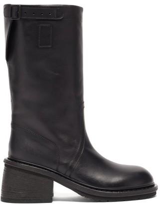 Ann Demeulemeester Buckled Block-heel Leather Boots - Black