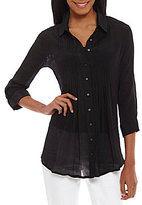 Fever Pleated Button Down Blouse