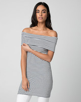 Le Château Stripe Rib Knit Off-the-Shoulder Top