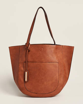Street Level Cognac & Leopard Reversible Shoulder Bag