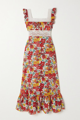 Loretta Caponi - Margherita Lace-trimmed Tiered Floral-print Cotton-voile Midi Dress