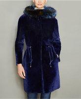 The Fur Vault Fox-Fur-Trim Hooded Shearling Lamb Coat