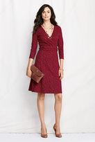 Lands' End Women's Petite 3/4-sleeve Pattern Ponté Wrap Dress