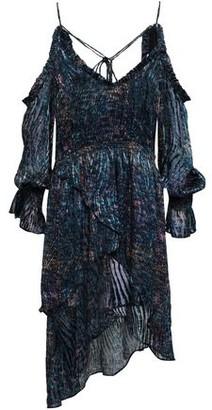 IRO Eloma Cold-shoulder Printed Devore-velvet Dress