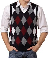 Lisianthus Men's Wool Argyle V-Neck Sweater Vest XL