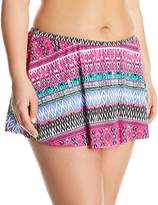 Kenneth Cole Reaction Women's Plus Size Riviera Stripe Flyaway Skirted Bikini Bottom