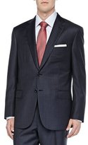 Brioni Striped Two-Piece Suit, Blue/Brown