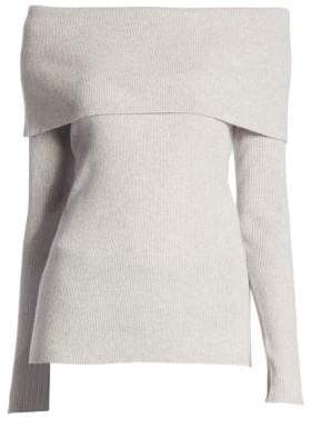 Saks Fifth Avenue COLLECTION Cashmere Ribbed Off-The-Shoulder Sweater
